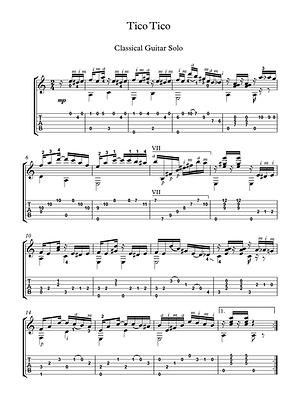 Tico Tico guitar solo sheet music