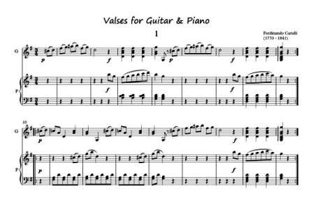 Valses for Guitar and Piano duet scores download