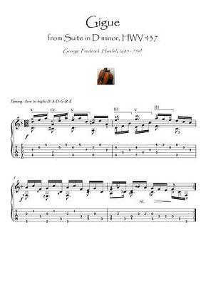 Gigue by Handel guitar fingerstyle score download
