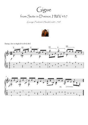 Gigue by Handel guitar fingerstyle score dowbnload