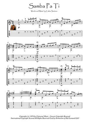 Samba Pa Ti classical guitar score download