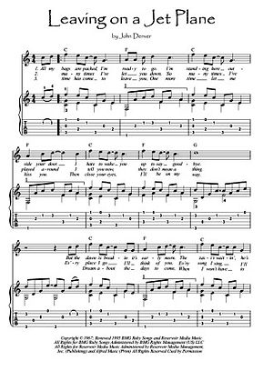 Leaving On A Jet Plane by Denver guitar sheet music download Denver