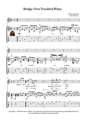 Bridge Over Troubled Water Guitar Score Garfunkel