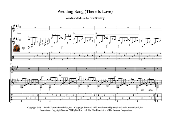 Wedding Song (There Is Love) guitar sheet music download