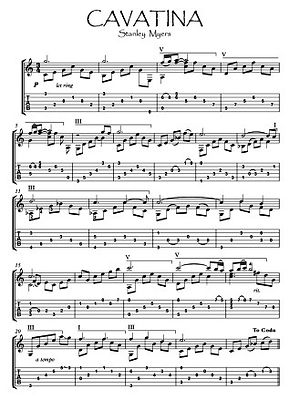 Cavatina Guitar solo in C sheet music download by Myers