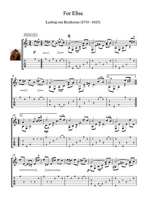 For Elise Guitar Solo Sheet Music Beethoven