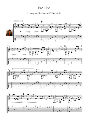 For Elise by Beethoven guitar solo sheet music