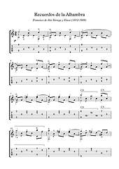 Recuerdos De La Alhambra Easy Guitar Solo Sheet Music Tarrega