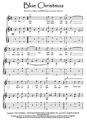 Blue Christmas easy guitar sheet music download Presley