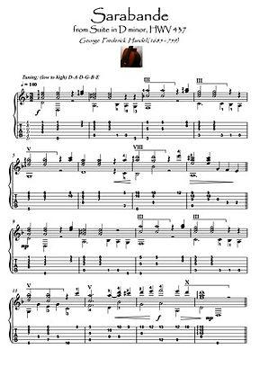 Sarabande by Handel guitar solo score download