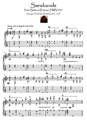 Sarabande by Handel guitar solo score download
