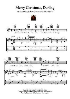 Merry Christmas Darling guitar music score download
