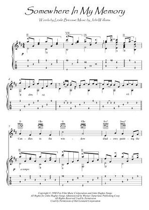 Somewhere In My Memory guitar fingerstyle score download