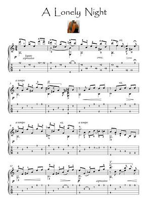 A Lonely Night latin guitar solo score