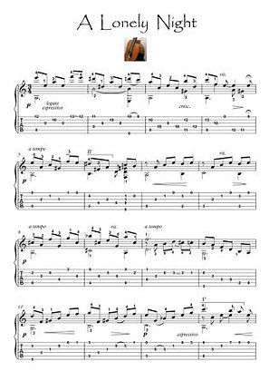 A Lonely Night guitar solo score download