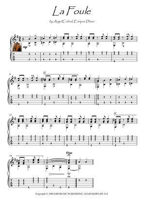 La Foule Edith Piaf guitar solo score download