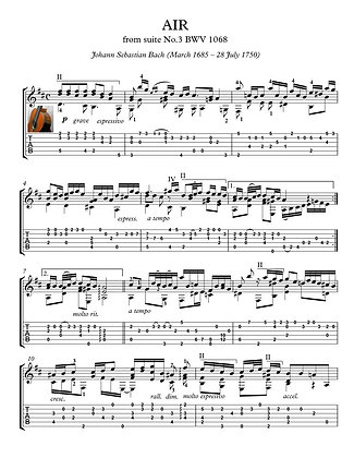 Air BWV 1068 by Bach guitar solo sheet music
