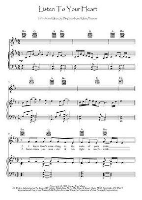 Listen To Your Heart piano score download Roxette