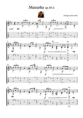 Mazurka 30 2 Chopin For Guitar Solo