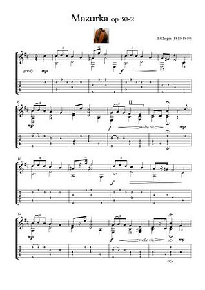 Mazurka 30-2 Chopin for Guitar solo
