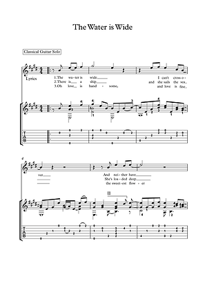 The water is wide guitar score