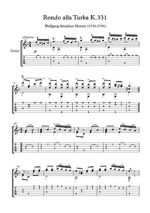 Rondo K331 by Mozart guitar solo sheet music