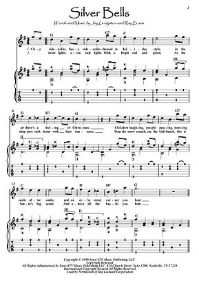Silver Bells guitar fingerstyle score download