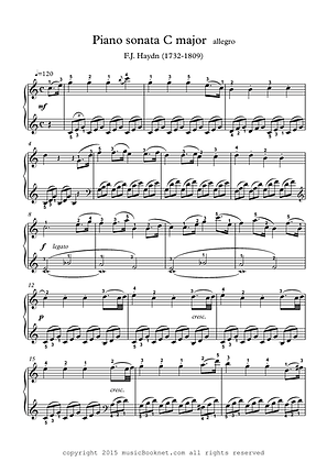 Piano sonata easy piano sheet music Haydn