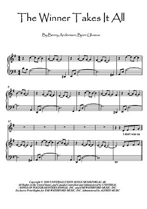 The Winner Takes It All piano sheet music download