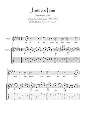 Just as I am Flute and Guitar duet music score download Traditional