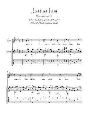 Just as I am Flute and Guitar duet sheet music with mp3