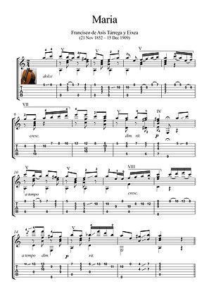Maria by Tarrega guitar solo sheet music