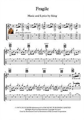 Fragile By Sting Guitar Sheet Music
