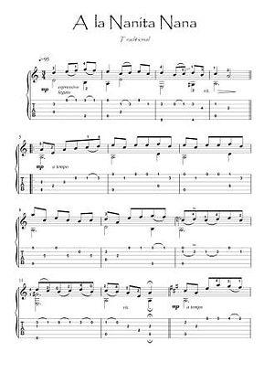 A la Nanita Nana guitar fingesrtyle score download