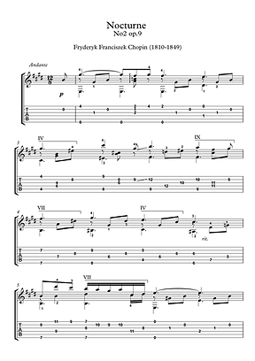 Nocturne 9 2 Guitar Solo Sheet Music Chopin