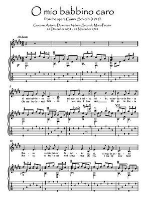 O mio babbino Violin Guitar duet music score download Puccini