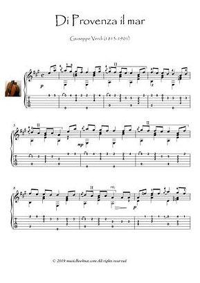 La Traviata - Di Provenza il mar guitar solo Verdi Opera
