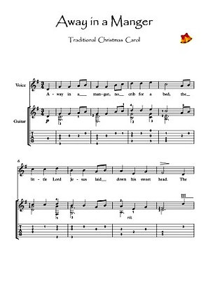 Away In A Manger Guitar solo music score sample