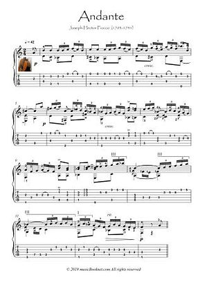 Andante by Fiocco classical Guitar solo
