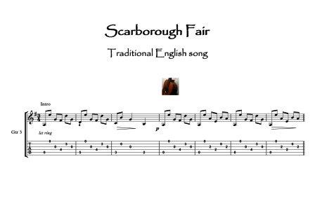 Scarborough Fair Guitar trio sheet music sample