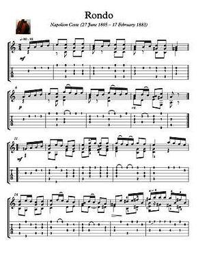 Rondo By Napoleon Coste Guitar Score