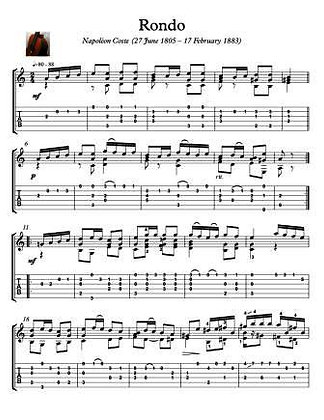 Napoleon Coste Rondo Guitar Sheet Music with tablature
