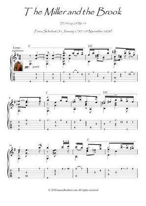 The Miller and the Brook classical guitar solo score download