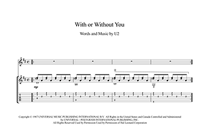 With Or Without You Guitar Sheet Music U2