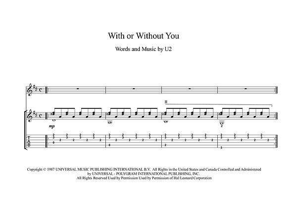 With Or Without You guitar sheet music download