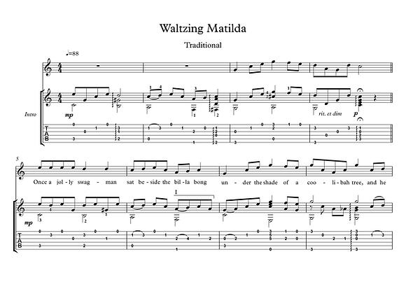 Waltzing Matilda guitar score download