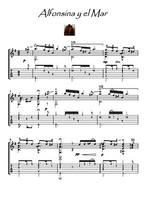 Alfonsina y el Mar guitar solo music sheet download by Ramirez