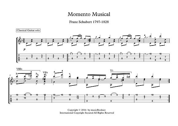 Momento Musical by Schubert guitar solo sheet music