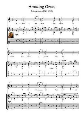 Amazing Grace Guitar Solo Sheet Music Pdf Mp3 Newton