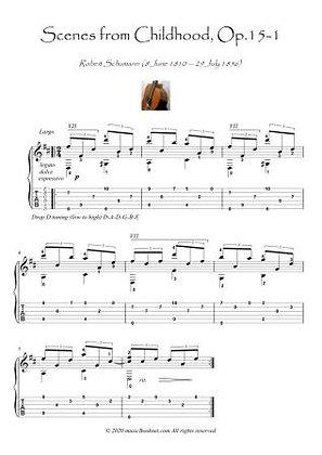 Scenes from Childhood op15-1 guitar solo score download
